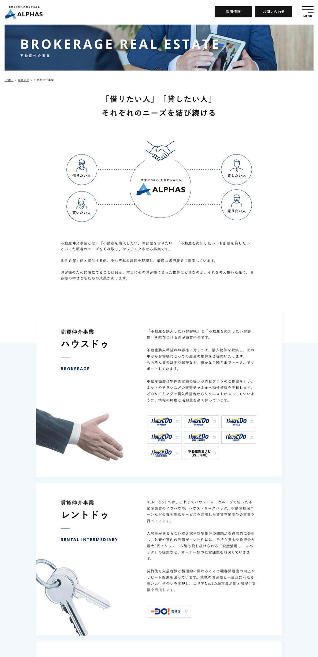 コーポレートサイト - 不動産仲介事業ページ